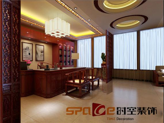 新中式风格          装修工程简介:作为红木家具卖场,设计师并没有